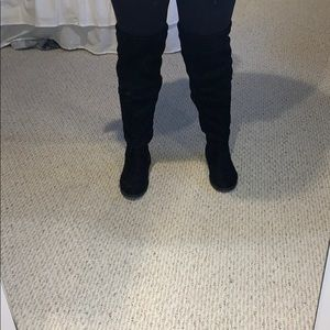 Black suede over the knee boot